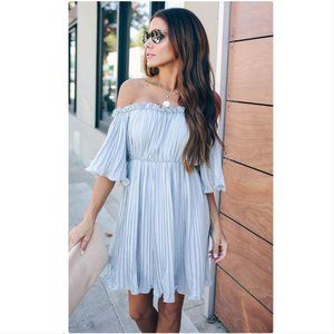 Vici pleated off the shoulder dress NWT